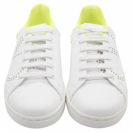 Valentino White/Florescent Green V-Logo Leather Sneakers Size 38.5 354763