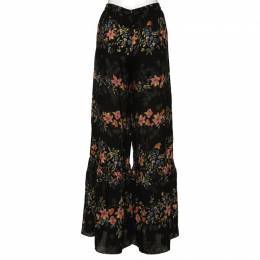 Red Valentino Black Silk Floral Print Palazzo Trousers XS 332210