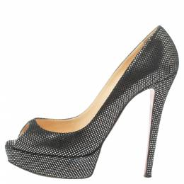 Christian Louboutin Black Suede with Metallic Silver Polka Dots Peep Toe Platform Pumps Size 40 347397
