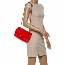 Chanel Coral Orange Quilted Patent Leather Valentine Charm Single Flap Bag 347143