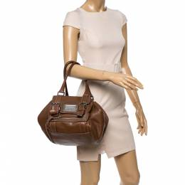 Dolce and Gabbana Brown Grained Soft Leather Miss Easy Way Bag 341457