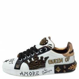 Dolce and Gabbana Tri Color Leather Portofino Crown Embellished Low Top Sneakers Size 38 347524