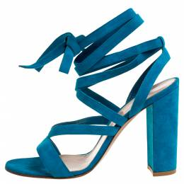 Gianvito Rossi Blue Suede Leather Ankle Wrap Sandals Size 41 339790