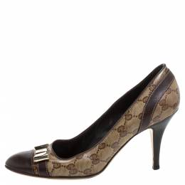 Gucci Brown GG Canvas And Leather Bow Cap Toe Pumps Size 39.5 348298