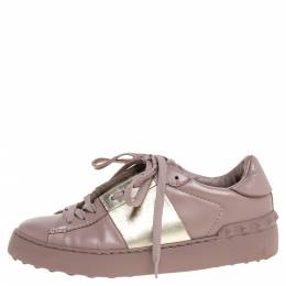 Valentino Pale Pink Leather Rockstud Sneakers Size 35 348481