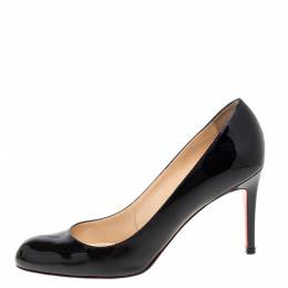 Christian Louboutin Black Patent Leather Simple Pumps Size 39.5 348812