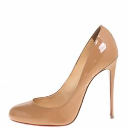Christian Louboutin Beige Patent Leather Simple Pumps Size 38.5 348813