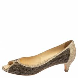 Chanel Two Tone Textured Leather Open Toe CC Pumps Size 40.5 347439