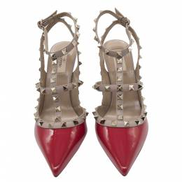 Valentino Red Patent Leather Rockstud Embellished Pointed Toe Sandals Size 38 356514