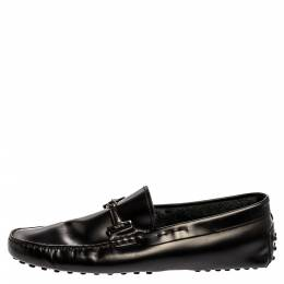 Tod's Black Leather Double T Slip On Loafers Size 42.5 348593