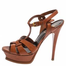 Brown Leather Tribute Sandals Size 36.5 349091 Saint Laurent Paris