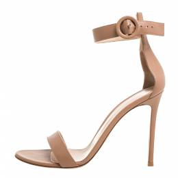 Gianvito Rossi Beige Leather Portofino Ankle Strap Sandals Size 40 348715