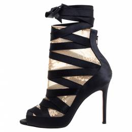Christian Louboutin Black/Beige Petit Fee Ankle Boots Size 38 348856