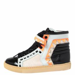 Sophia Webster Multicolor Leather and Glitter Riko High Top Sneakers Size 36 349315