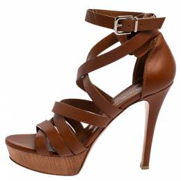 Gianvito Rossi Brown Leather Strappy Platform Sandals Size 37.5 348959