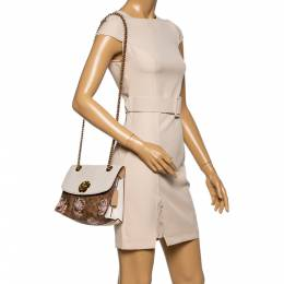 Coach Brown/Beige Prairie Floral Print Signature Coated Canvas and Leather Shoulder Bag 348488