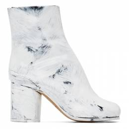 Maison Margiela Black and White Painted Tabi Heel Boots S58WU0260 P3838