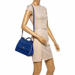 Dolce and Gabbana Blue Leather Medium Miss Sicily Top Handle Bag 348974