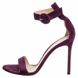 Gianvito Rossi Purple Suede Portofino Sandals Size 38.5 349515