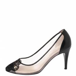 Chanel Black Camellia Cap Toe Mesh and Leather Pumps Size 39 349279