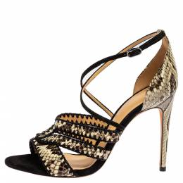 Alexandre Birman Tri Color Snakeskin Embossed Leather Strappy Sandals Size 37.5 348554
