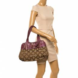 Coach Beige/Magenta Op Art Canvas and Leather Shoulder Bag 349425