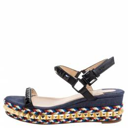 Christian Louboutin Black Studded Leather Cataclou Espadrille Wedge Sandals Size 36 349877