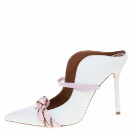 Malone Souliers White Leather Maureen Mules Size 37 349288