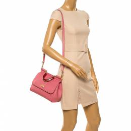 Dolce and Gabbana Pink Leather Medium Miss Sicily Top Handle Bag 349275