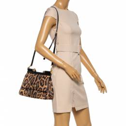 Dolce and Gabbana Beige/Black Coated and Leather Medium Miss Sicily Top Handle Bag 350445