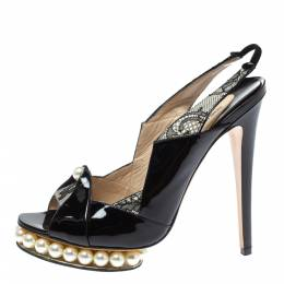 Nicholas Kirkwood Black Patent Leather And Lace Pearl Platform Slingback Sandals Size 40 350335
