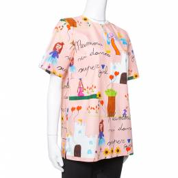 Dolce and Gabbana Pink Kids Drawing Print Cotton Top M 349587
