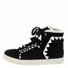Sophia Webster Monochrome Suede and Patent Leather Riko High Top Sneakers Size 38.5 349747