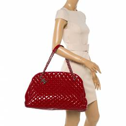 Chanel Red Quilted Patent Leather Large Just Mademoiselle Bowler Bag 350281