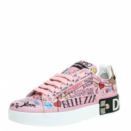 Dolce and Gabbana Pink Leather Portofino Graffiti Print Low Top Sneakers Size 36.5 351106