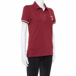 Celine Maroon Cotton Pique Logo Embroidered Polo T-Shirt M 350586
