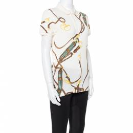 Ralph Lauren Cream Equestrian Bridle Print Cotton Polo T-Shirt M 350584