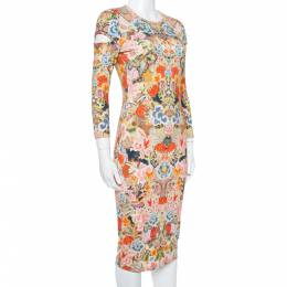 Alexander McQueen Multicolor Floral Print Jersey Fitted Dress S 350580