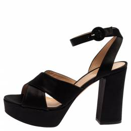 Gianvito Rossi Black Satin Criss Cross Platform Sandals Size 39 348996