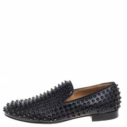 Christian Louboutin Black Leather Rollerboy Spikes Smoking Slippers Size 41 350710