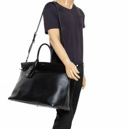 Burberry Black Leather Extra Large Society Top Handle Bag 350700