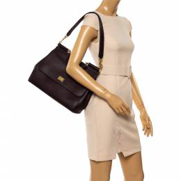 Dolce and Gabbana Burgundy Leather Large Miss Sicily Top Handle Bag 347478