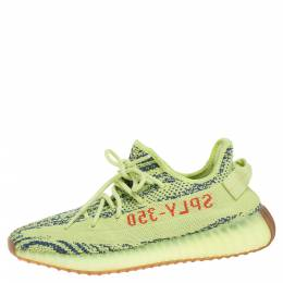 Yeezy x Adidas Semi Frozen Yellow Cotton Knit Boost 350 V2 Sneakers Size 41.5 350856