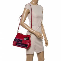 Dolce and Gabbana Red Leather Medium Miss Sicily Choose Love Top Handle Bag 350870