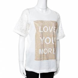 Elie Saab White Jersey Love Crystal Embellished Top XS 351049