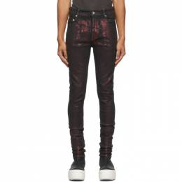 Rick Owens DRKSHDW Red and Black Slim Tyrone Jeans DU20F1361 SDF
