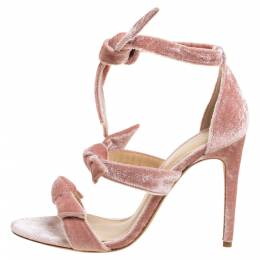 Alexandre Birman Light Pink Velvet Lolita Sandals Size 38 351647