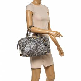 Prada Grey/Light Green Talco Lace Print Cervo Leather Bauletto Bag 351556