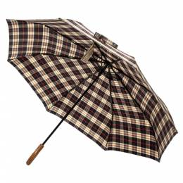 Burberry Black/Brown Nylon Mini Check Trafalgar Umbrella 350446