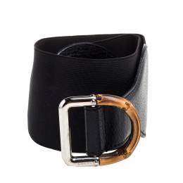 Gucci Black Leather and Elastic Fabric Band Bamboo Buckle Waist Belt 75CM 348650